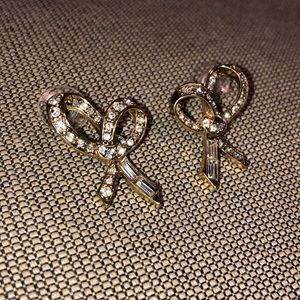 Anthropologie Jewelry - Anthropologie Bow Diamond Earrings